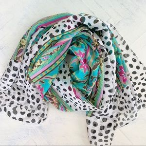 Silky Colorful Floral and Dalmatian Spot Scarf